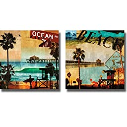 Ocean Avenue & Beach Culture by Charlie Carter 2-pc Premium Stretched Canvas Set (Ready-to-Hang)
