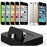 Dock chargeur iPhone 5 / iPhone 5S / iPhone 5C - Station d'accueil (Dockingstation) noir de recharge et synchronisation iPhone 5S / iPhone 5C / iPhone 5- Prix découverte ! Avec nouveau câble connecteur Lightning inclus compatible IOS 7.0 !