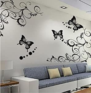 Neewer Fashion Black/White Butterfly Decorative Wall Paper Art Graphic Sticker Decal