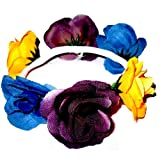 Hair accessory - Yellow blue and purple flower scrunchie / bun ring / bun decoration. Very fashionable brand new. Birthday or Christmas gift. Perfect stocking fillers , gift ideas