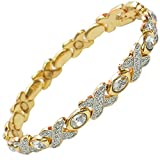 MPS TASIA CR Magnetic Bracelet with Crystals and Clasp Featuring Strong 3,000 gauss Neodymium Magnets - L size
