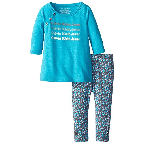 Calvin Klein Baby-Girls Infant Tunic With Printed Leggings, Teal/Assorted,Teal,Correct front-1063453