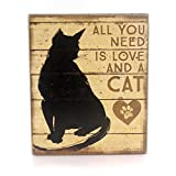 Home & Garden ALL YOU NEED IS LOVE AND A CAT Wood Box Sign Kitten Kitty 33889