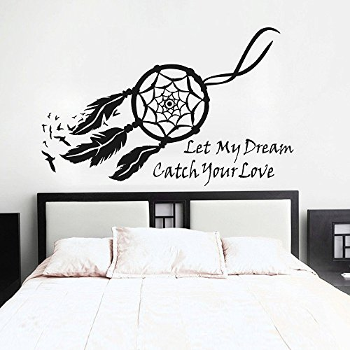 MairGwall Dream Catcher Wall Decal Native American Feathers Bedroom Wall Sticker (Small, Black)