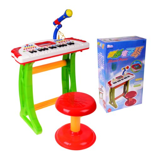 Kids Authority Children Piano With Microphone & Stand /Flashing Lights - Kids Piano With Lcd Display - Color Vary