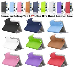 """SAVFY Samsung Galaxy Tab 2 7.0 Ultra Slim Stylish PU Leather Case Cover with Multi-View Stand, Bonus: Screen Protector + Touchscreen Stylus Pen (Galaxy Tab 2 7"""" P3100 P3110) (multi-view stand SKY BLUE)"""