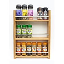 Solid Oak Spice Rack - Holds Up To 18 Spice and Herb Jars - Deep Capacity for Larger Jars and Bottles - 3 Tiers/Shelves