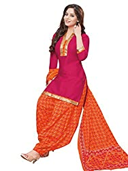 PShopee Maroon & Orange Cotton Printed Unstitched Patiyala Salwar Suit Material