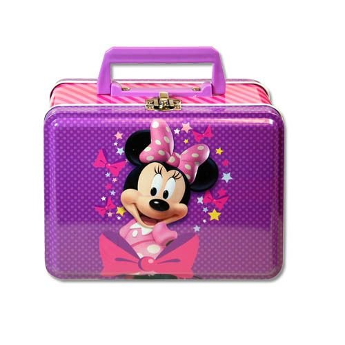 1 X Lunch Box - Disney - Minnie Mouse - Metal Tin Case w/ Plastic Handle & Clasp