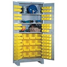 """Lyon DD1156 All Welded Steel Shelf/Bin Cabinet with 3 Full Width Adjustable Shelves, 86 Small and 16 Large Plastic Bins, 36"""" Width x 21"""" Depth x 82"""" Height, Dove Gray"""