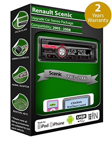 Clarion-Autoradio-fr-Renault-Scenic-mit-CD-Player-USB-Anschluss-Wiedergabe-von-Apple-iPod-iPhone-und-Android