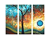 TJie Art hand-painted Mordern Oil Paintings Wall Decor Sun Tree Abstract Clouds Home Landscape Oil Paintings Splice 3-piece/set on Canvas