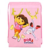 Dora the Explorer Drawstring Backpack in Pink For Children. Nick Jr. Dora Sling Nylon Travel Bag (Dimension: 15 x 10.25; Weight: 0.25lb)