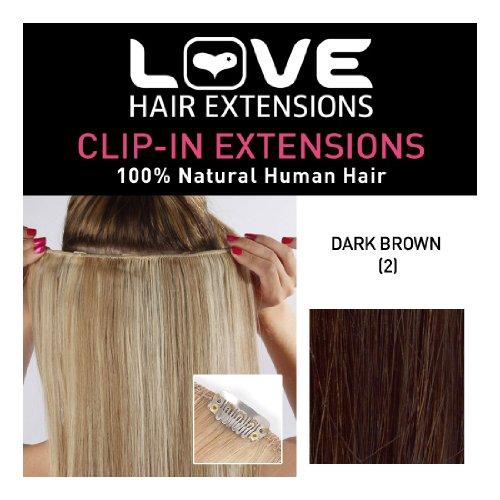 Love Hair Extensions 100% Human Hair Clip in Extensions Colour 2 Dark Brown