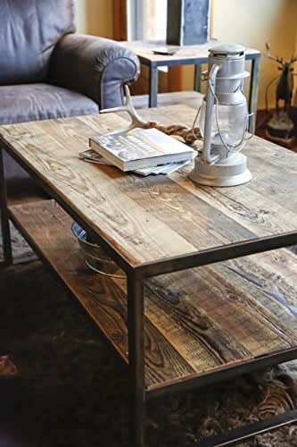 Rustic iron reclaimed barn wood coffee table montana angle worx Rustic iron coffee table