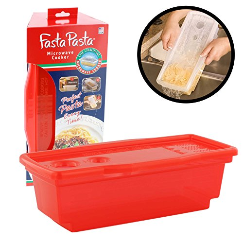 Microwave Pasta Cooker - The Original Fasta Pasta (Red) - No Mess, Sticking or Waiting for Boil (Microwave Pasta Cooker compare prices)
