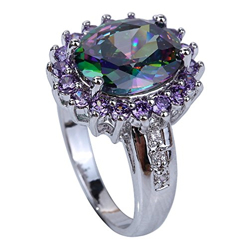 YAZILIND Lady's Silver Plated Flower Shape Crystal Multicolor Women Ring size9 (Yazilind Rings compare prices)