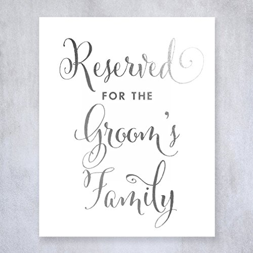 Reserved for Groom's Family Silver Foil Small Sign Wedding Reception Signage 5 inches x 7 inches E11