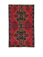 L'Eden del Tappeto Alfombra Beluchistan Rojo / Azul Oscuro / Marrón 140  x  85 cm