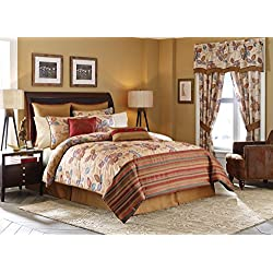 Croscill Home Fashions Mosaic Leaves Comforter Set, King, Multi, Floral