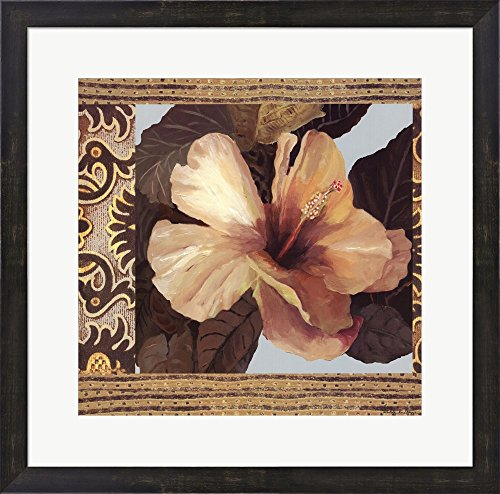 Hibiscus II by Valentina Di grazzia Framed Art Print Wall Picture, Espresso Brown Frame with Hanging Cleat, 23 x 23 inches (Valentina Espresso compare prices)