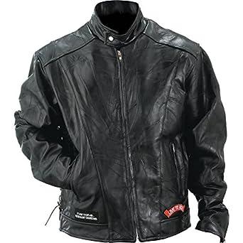 Diamond Plate Rock Design Genuine Buffalo Leather Motorcycle Jacket (Large)