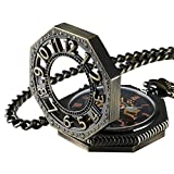 Roman Classic Pocket Watch and Chain Antique Gold Tone Octagon Case Steampunk Mechanical Movement CHPW02