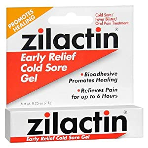 Zilactin Cold Sore Gel, Medicated Gel - 0.25 OzGel