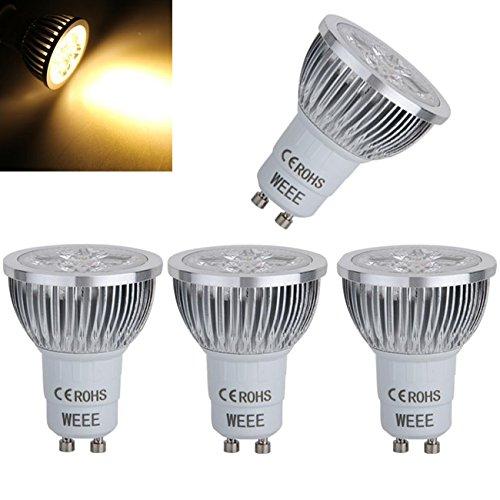 Sodial(R) 4 Gu10 Led Warm White Spot Down Light Bulb Lamp 4W 4*1W 2800K 320Lm