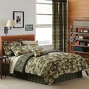teen boy green brown camouflage full comforter
