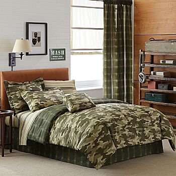 Teen Boy Green Brown Camouflage Queen Comforter Set