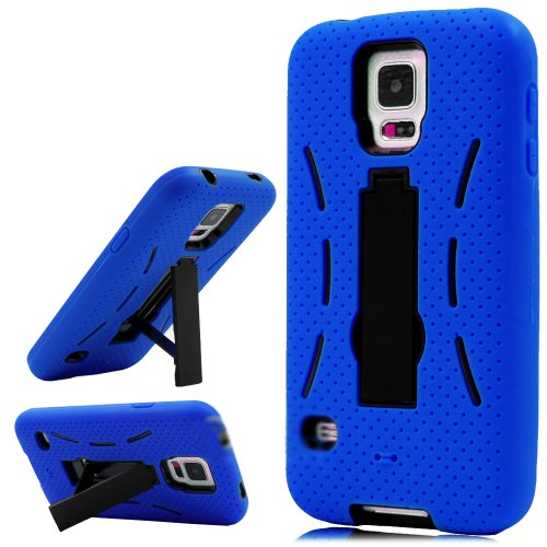 Mylife Electric Blue And Space Black - Shock Suit Survivor Series (Built In Kickstand + Easy Grip Silicone) 3 Piece + 2 Layer Case For New Galaxy S5 (5G) Smartphone By Samsung (External Flex Silicone Bumper Gel + Internal 2 Piece Rubberized Snap Fitted Ar