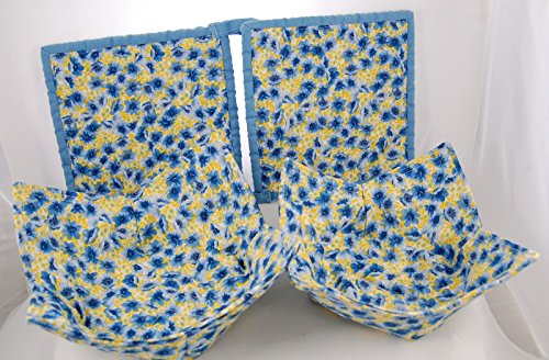 Set Of 2 Quilted Chenille Pot Holders And 2 Fabric Microwave Bowls - Blue & Yellow Flowers - Handcrafted In The Usa - Limited Edition - Handmade Set - Satisfaction Guaranteed