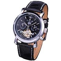 KS Men Genuine Leather Tourbillion Mechanical Classic Black Military Wrist Watch KS003 from KS