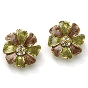 PalmBeach Jewelry Enamel and Crystal Flower Clip On Earrings in Yellow Gold Tone
