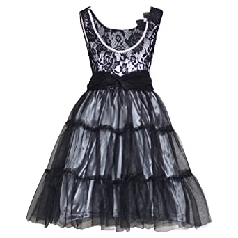 Rmla girls 12 black lace silver mesh pearl necklace christmas dress