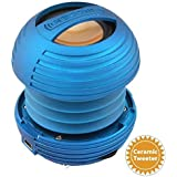 XBOOM Ceramic Mini Portable Capsule Speaker with Rechargeable Battery, Enhanced Bass+ and Ceramic Resonator - Blue