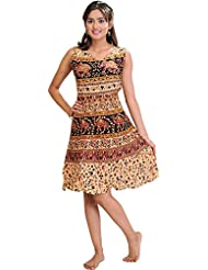 Exotic India Sanganeri Summer Dress With Printed Camels And Elephants