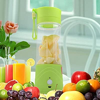 GreenEmart Mini USB Electric Fruit Juicer - Portable Rechargeable Extractor Fruit Vegetable Drink Blender Drink Bottle Cup Citrus Ice Crusher Smoothie Maker 380ml