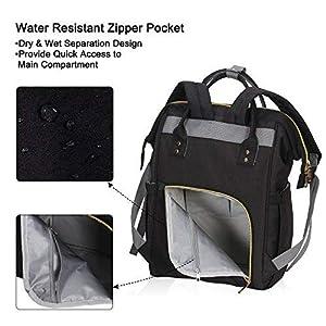 Hynes Eagle Water Resistant Diaper Backpack Multipurpose Baby Travel Bag for Dad or Mom Black U