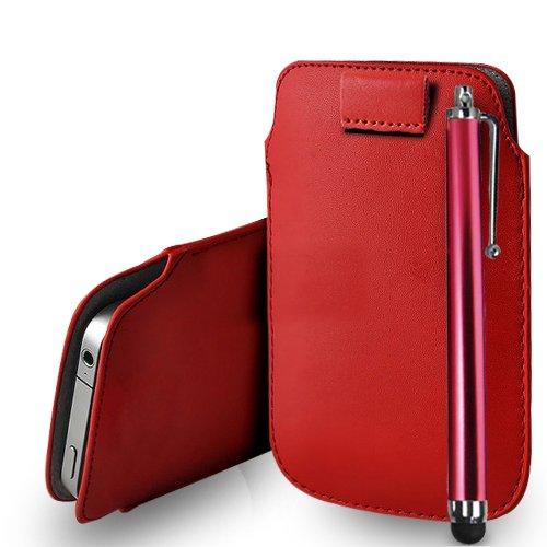 Huawei Ascend G620s Red Leder Pull Tab Tasche Tasche + Stylus Pen & Poliertuch