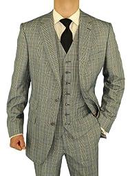 Bianco B Men\'s Suit Vested Modern Fit 3-Piece Blazer Extra Pants Total 4-Piece Black White (46 Regular US)