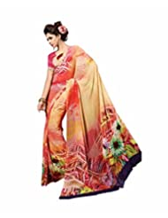 Vipul Belicia Red Abstract Floral Print Saree