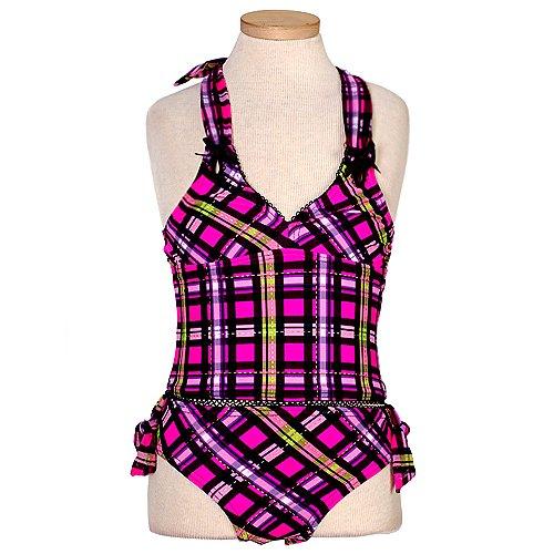 Gossip Girl Pink Plaid 2 PC Halter Tankini Bikini Swimsuit Girls 7-16