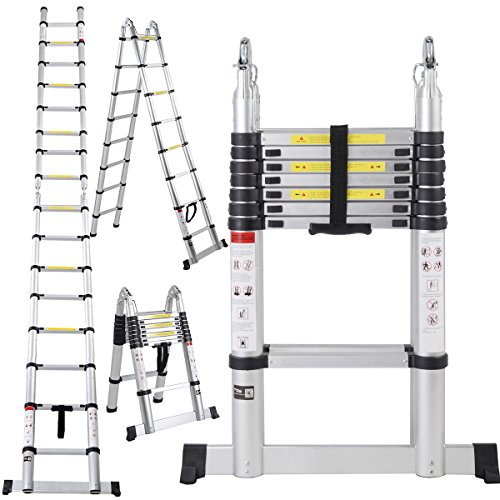 EN131 16.5FT Aluminum Telescoping Telescopic Extension Ladder Tall Multi Purpose (Canopy Protection Plan Console compare prices)
