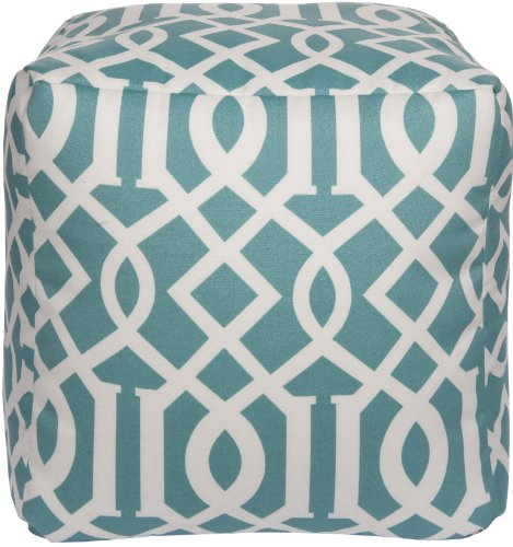 Surya Rugs Aqua and Papyrus Pouf
