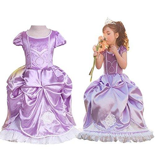 Costume GenialES Vestito Lungo con Fatina Viola Lindo Maniche Corte Per Compleanno Fiesta Cosplay Girls 3-7 Anni Porpora XL