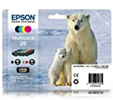C13T26164010 - 4 Item Multipack Original 26 Series Ink Cartridges (Polar Bear) fits Epson Expression Premium XP600 XP605 XP700 XP800.
