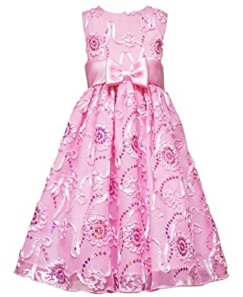 Size-10, Pink, RRE-41931, Pink Sequin Soutache Mesh Overlay Dress, Rare Editions TWEEN GIRLS 7-16, Special Occasion Wedding Flower Girl Party Dress