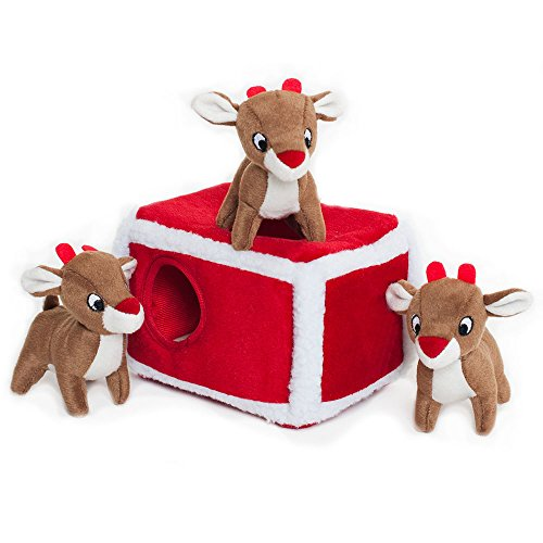 Reindeer Pen Burrow Squeaky Dog Toy